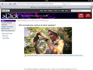 Screenshot of BBC showing lack of Flash support