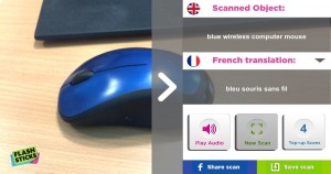 Screenshot from Flashsticks app showing, and recognising, a blue mouse