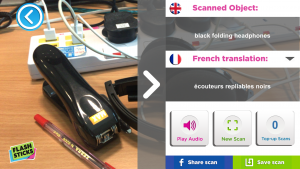 Screenshot from Flashsticks app showing, and recognising, a a set of headphones within a cluttered environment.