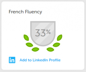 Screenshot showing Duolingo's fluency percentage
